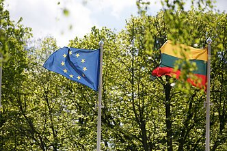 Flags of Lithuania and the European Union