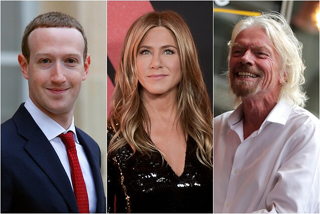 Markas Zuckerbergas, Jennifer Aniston, Richardas Bransonas