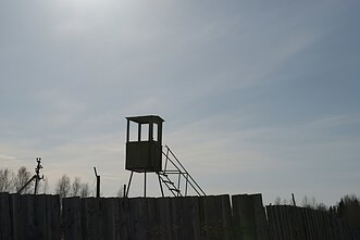 A watch tower in a museum commemorating victims of Soviet-era political repressions located in a former prison camp, some 110 km northeast of the west Siberian city of Perm, Russia.