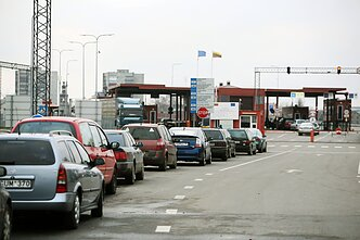 A border crossing in Lithuania