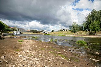 Neris river in Vilnius has bit severely hit by the nationwide drought