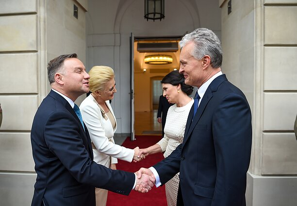 The meeting of Polish President Andrzej Duda, left, and Lithuania's Gitanas Nausėda