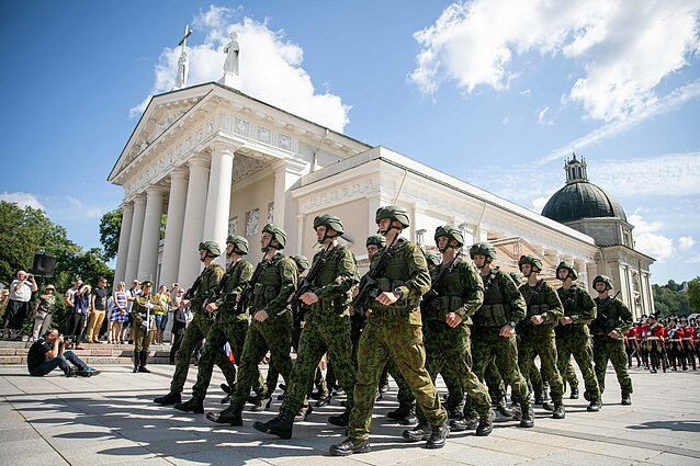 Lithuanian military march in the Cathedral Square in Vilnius