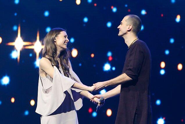 Marius Kiltinavičius and Ieva Zasimauskaitė on the Eurovision stage