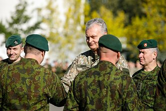 Lithuanian President Gitanas Nausėda meets with Lithuanian soldiers in Rukla