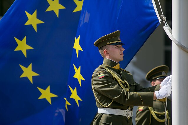 EU flag and a Lithuanian soldier (illustrative)