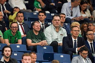 Lithuanian Prime Minister Saulius Skvernelis and President of the Lithuanian Basketball Federation Arvydas Sabonis