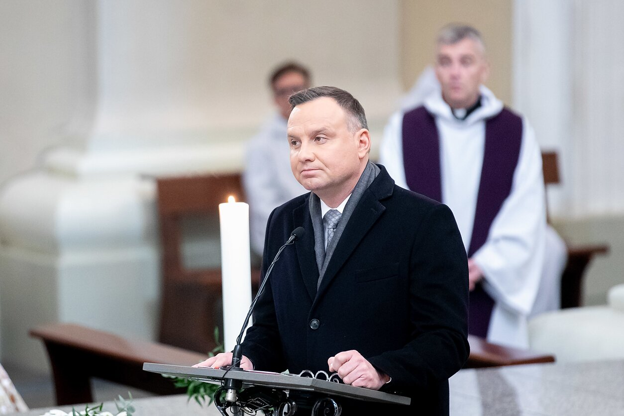 Polish President Andrzej Duda at the reburial ceremony in Vilnius