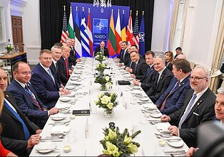 "Lithuanian President Gitanas Nausėda with the ""two percenters,"" leaders of countries that spend at least 2 percent of GDP on defence"