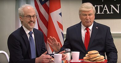 US President Donald Trump has to join Latvia's 'looser table' in a US comedy sketch