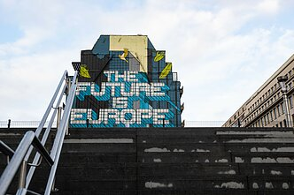 'The future is Europe' graffiti in Brussels