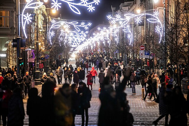 People in Vilnius during New Years Eve