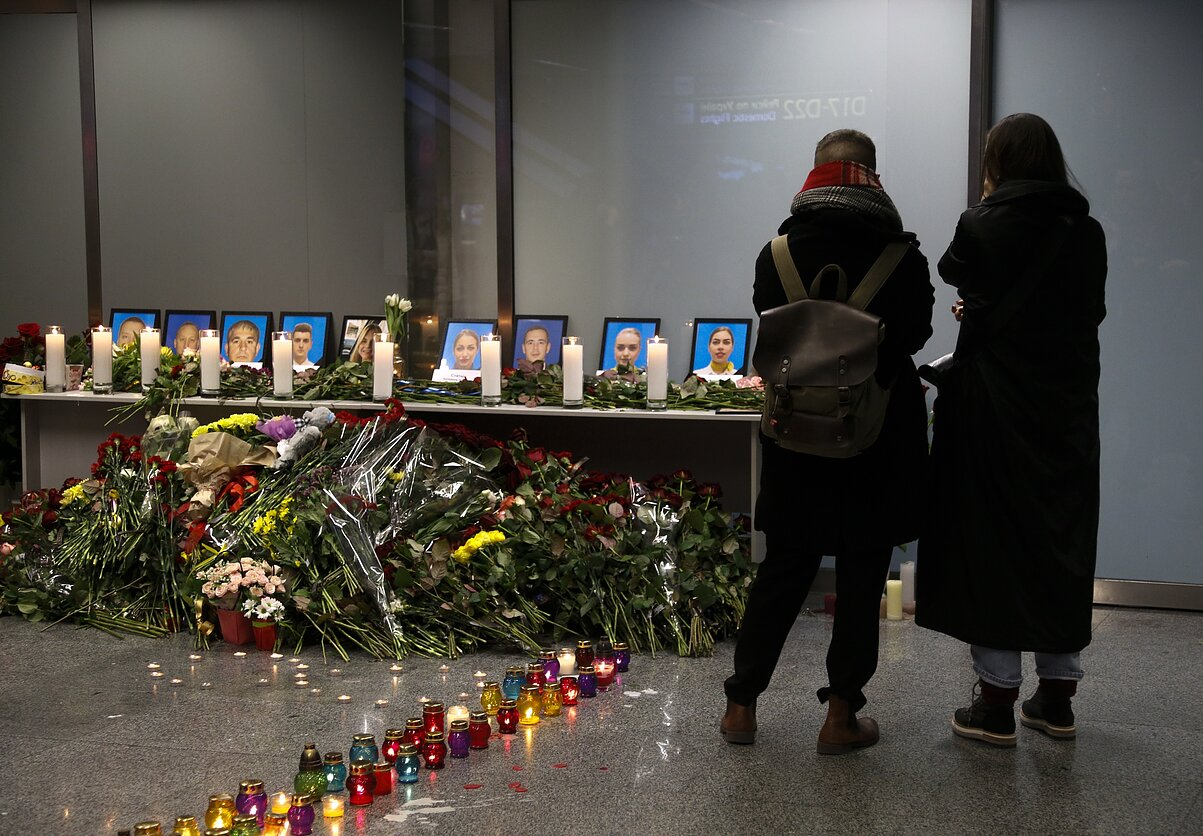 Teherane įvykusios aviakatastrofos aukų pagerbimas Kijevo oro uoste