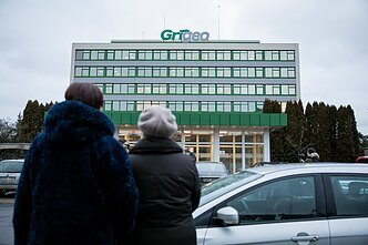 Several people protested in front of Grigeo Group offices in Vilnius earlier this month