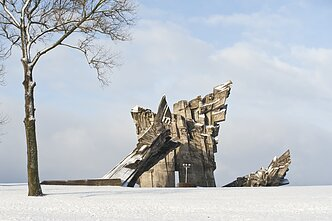 A monument at the ninth fort in Kaunas, Lithuania. Tens of thousands of Jews were killed there during the Holocaust.