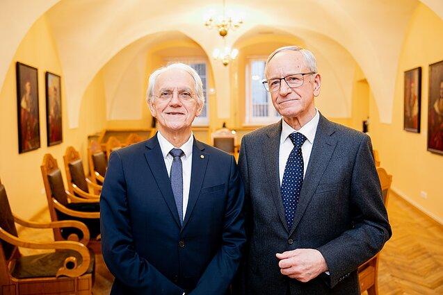Nobelio fizikos premijos laureatas Gerardas Mourou ir profesorius Algis Petras Piskarskas