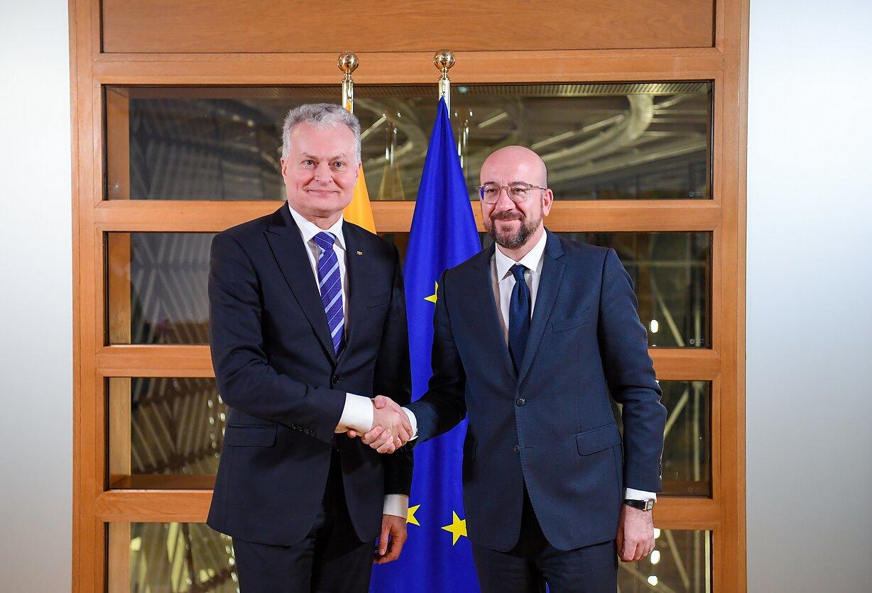 Gitanas Nausėda susitiko su su Europos Vadovų Tarybos pirmininku Charles'iu Micheliu