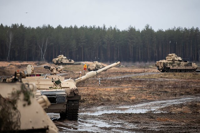American troops on a live-fire exercise in Pabradė, Lithuania