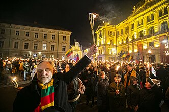 The yearly torchlight march during Lithuania's Independence Restoration Day on February 16