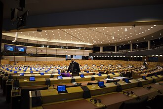 European Parliament emptied out due to the coronavirus threat.