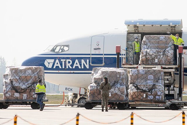 A large shipment of protective medical equipment arrived in Lithuania on Saturday.