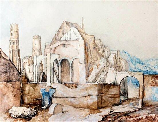 """Samuelis Bakas, """"Peizažas su statiniais"""", 1974"""