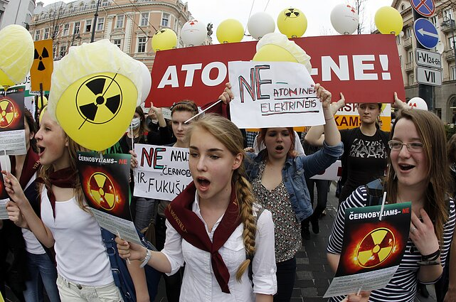 A protest in Vilnius against the Astravyets NPP during the anniversary of the Chernobyl disaster.