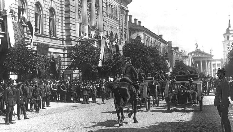 Polish soldiers march in Vilnius in 1922, celebrating its incorporation into Poland