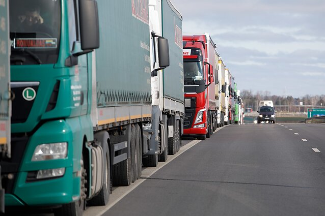 Trucks on the Lithuania border.