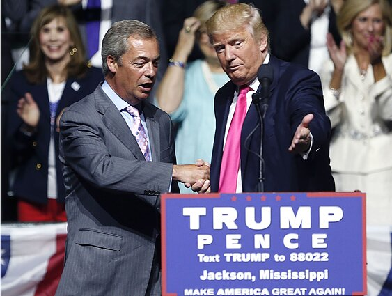 Nigelas Farage`as ir Donaldas Trumpas 2016 metais