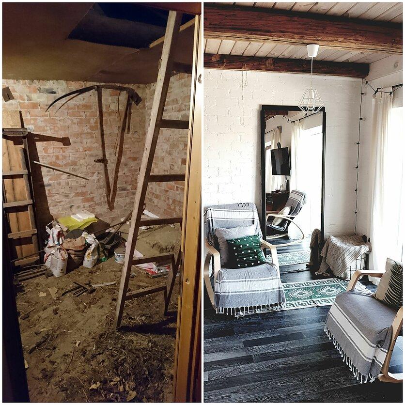 Buvęs garažas prieš remontą ir po jo
