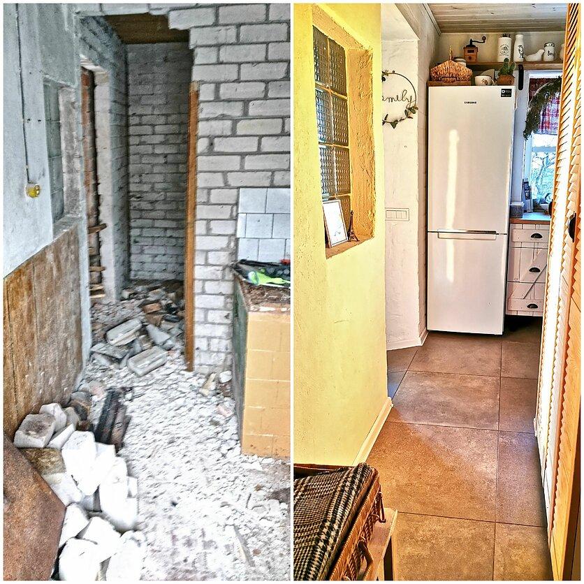 Koridorius prieš remontą ir po jo