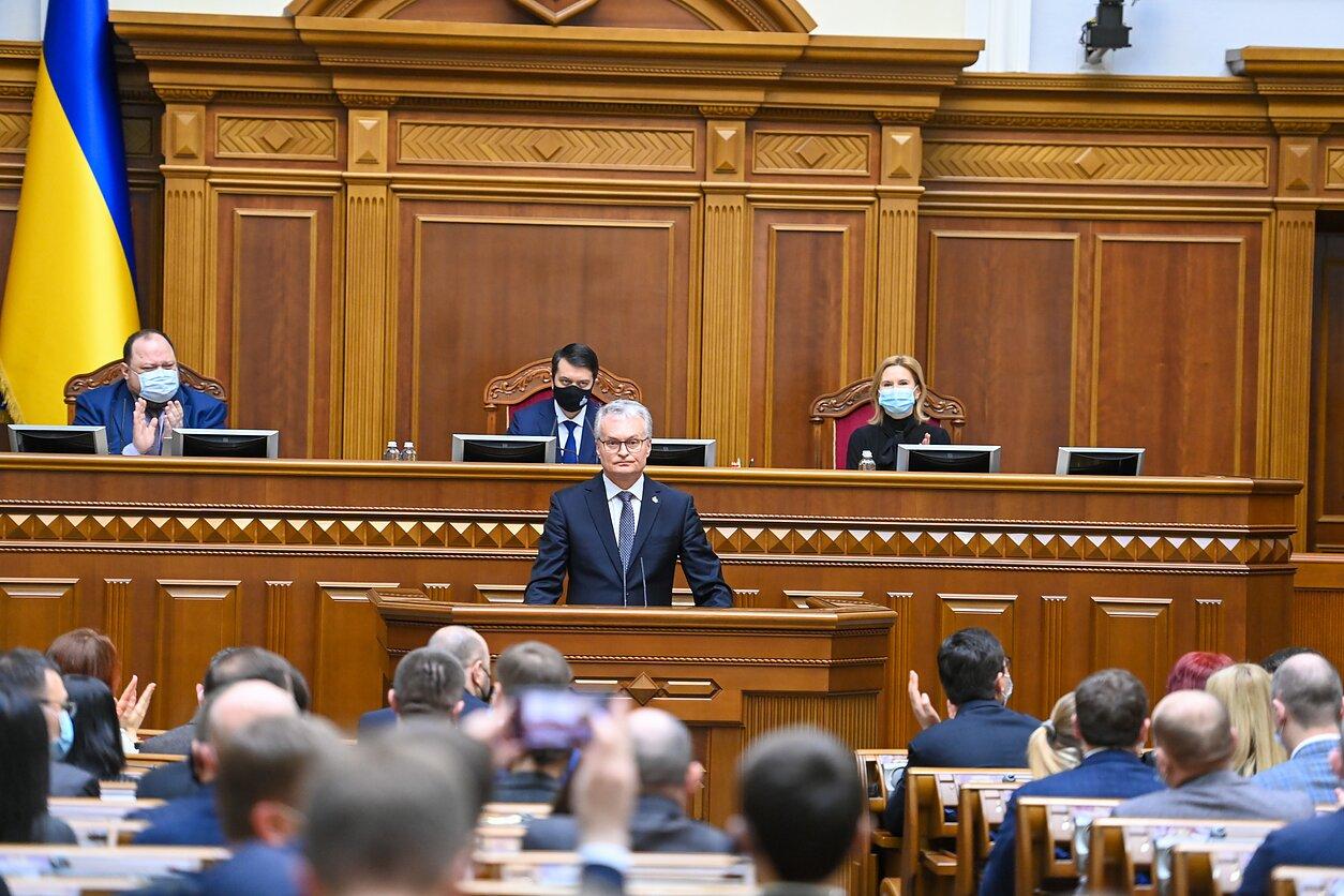 Gitanas Nausėda sako kalbą Ukrainos Aukščiausioje Radoje