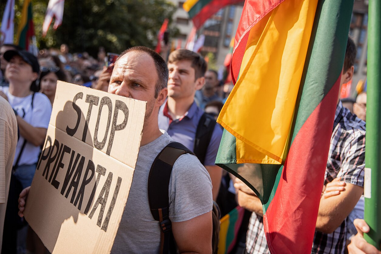 Protest rally outside the Lithuanian parliament against vaccination pass